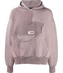 val kristopher distressed-panel hoodie - pink