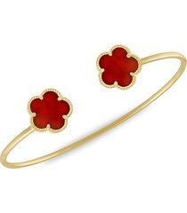 jan-kou women's flower 14k goldplated & coral agate cuff bracelet