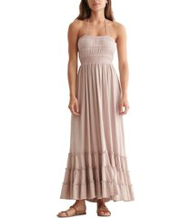 lucky brand cotton embroidered tiered maxi dress