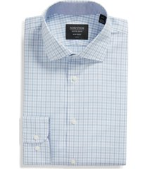 men's big & tall nordstrom trim fit heather gingham dress shirt, size 15 - blue
