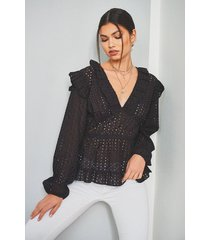 broiderie anglaise ruffle plunge blouse, black