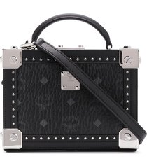 mcm all-over logo tote - black
