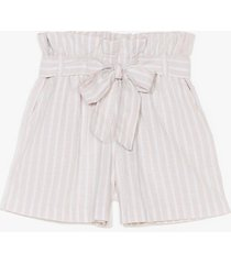 womens strictly business paperbag stripe shorts - stone