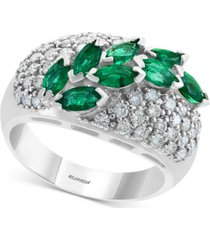 effy emerald (1-1/4 ct. t.w.) & diamond (3/4 ct. t.w.) ring in 14k white gold