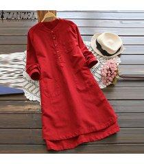 zanzea superior largo de la blusa sólido camisa de vestir de mujer de manga larga bolsillos botones vestido -rojo