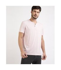 camiseta masculina básica manga curta gola portuguesa rosa