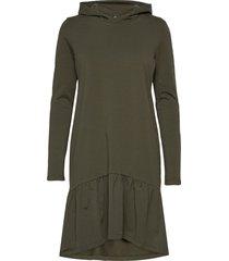 kadana linda hoodie dress knälång klänning grön kaffe