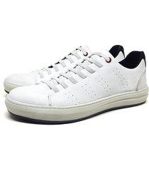 tênis couro casual confort stefanello branco