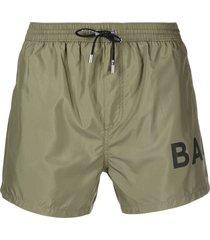 balmain logo-print swim shorts - green