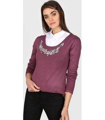 sweater violeta etam piedras