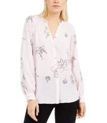 alfani printed inset-detail blouse, created for macy's