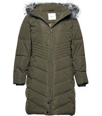 winter jacket plus faux fur collar fodrad rock grön zizzi