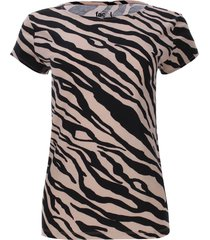 camiseta beige estampado rayas diagonales color café, talla xs