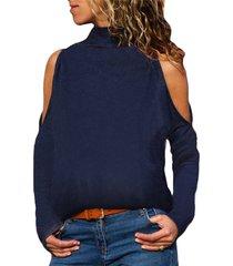 camiseta azul marino de cuello alto y manga larga con hombros descubiertos