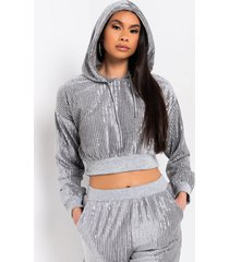 akira i chose my vibe cropped hoodie with sparkles