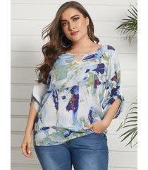 blusa de manga larga con cuello redondo y corte teñido anudado de talla grande