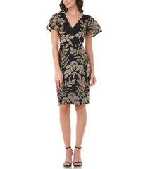 js collections embroidered flutter-sleeve sheath dress