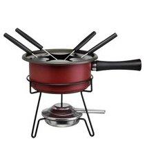 aparelho de fondue aspen vermelho 8 peças 1 litro forma