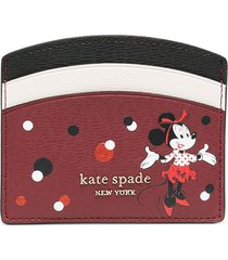 kate spade minnie mouse-print logo-plaque card holder - red