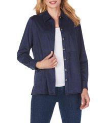 women's foxcroft journey faux suede shirt jacket, size 16 - blue