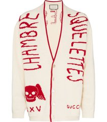 gucci chambre squelettes wool cardigan - 9133 white/red