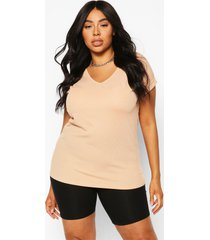 plus basic rib oversized t-shirt, stone