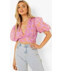 bloemen wikkel blouse met pofmouwen, light pink