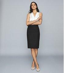 reiss hartley skirt - textured pencil skirt in black, womens, size 12