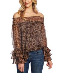 cece off-the-shoulder leopard print blouse
