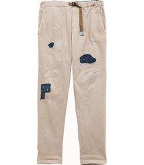 white sand pantalone in cotone con patch
