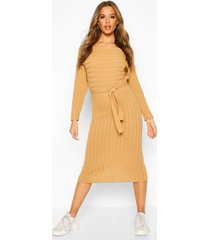 rib knitted midaxi belted dress, camel