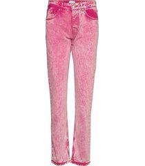 washed denim rechte jeans roze ganni