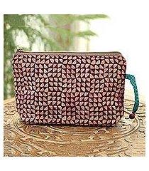 batik cotton cosmetic bag, 'magical triangles in maroon' (india)