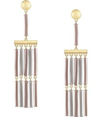 trifari gold-tone colored fringe tassel earrings