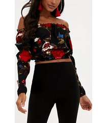black random floral print off the shoulder crop top
