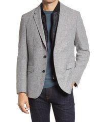 men's boss hadik classic fit stretch bib sport coat, size 38 regular - grey