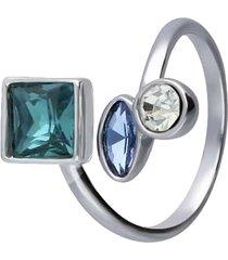 anello con pietre sui toni dell'azzurro in metallo rodiato per donna