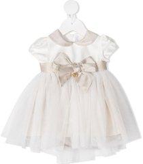 le bebé enfant tie-fastening tulle mini dress - white