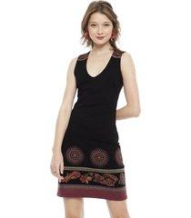 vestido desigual corto negro - calce ajustado