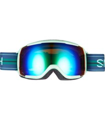 smith grom snow goggles - bermuda green sol-x mirror