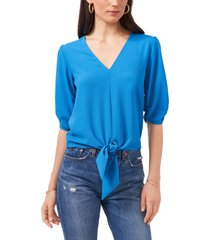 1.state tie front blouse, size small in marina blue at nordstrom