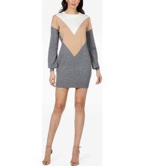 rtv- bebe juniors' colorblocked sweater dress