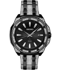 seiko men's black and silver stainless steel bracelet watch 44.5mm
