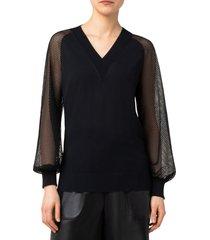 akris punto sakura dot lace sleeve v-neck sweater, size 6 in black at nordstrom