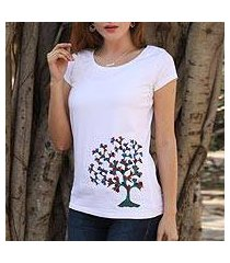 cotton blend madhubani t-shirt, 'blossoming beauty' (india)