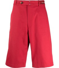 alexander mcqueen logo-waistband cotton bermuda shorts - red
