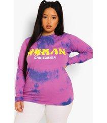 plus acid tie dye woman shirt met lange mouwen, washed purple