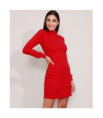 vestido canelado curto manga longa bufante gola alta vermelho