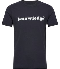 knowledge printed o-neck tee - gots t-shirts short-sleeved blå knowledge cotton apparel