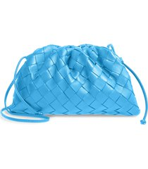 bottega veneta small the pouch leather clutch - blue